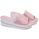 Women PU Leather Sandals Slides Wedges Platform Shoes, Size:35(Pink)