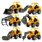 6 PCS / Set Mini Diecast Plastic Construction Vehicle Engineering Cars Excavator Model Toys(Yellow)