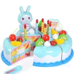 Kitchen Toys Cake Food DIY Pretend Play Fruit Cutting Birthday Toys for Children  Kids Gift(Blue)
