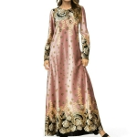 Long-Sleeved Fashion Print Dress, Size:XL(Pink)