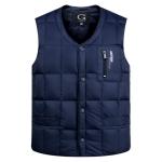 White Duck Down Jacket Vest Men Middle-aged Autumn Winter Warm Sleeveless Coat, Size:XXL(Blue)