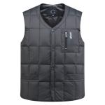 White Duck Down Jacket Vest Men Middle-aged Autumn Winter Warm Sleeveless Coat, Size:XXXL(Grey)