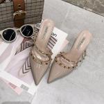 Fine Sleek Fashion Pointed Rivet Slippers High Heels, Shoe size:35(Beige White)