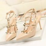 Pointed Stiletto Rivets Shallow Mouth High Heels, Shoes Size:34(Nude)