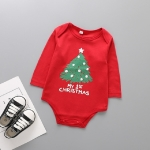 Spring and Autumn Children Christmas Costumes Cotton Long Sleeve Triangle Jumpsuits Romper, Size:80 Yards(A)