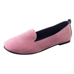 Woman Flat Round Toe Shallow Casual Soft Bottom Shoes, Size:39(Pink)