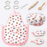 11 PCS / Set Kids Cooking Baking Kit Kitchen Chef Costume Role Play Apron Hat Gloves Set for Children
