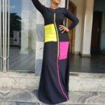 Women Stitching Dress with Pocket, Size:S(Black)