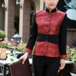 Long Sleeve Waiter Costume, Size:XXXL(Female Red)