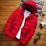 Winter Men Solid Color Short Jacket Slim Warm Hooded Cotton Clothing Casual Youth Down Jacket, Size:L(Red)