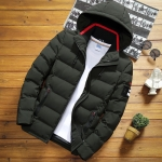 Winter Men Solid Color Short Jacket Slim Warm Hooded Cotton Clothing Casual Youth Down Jacket, Size:XXL(Army Green)