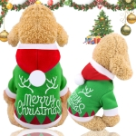 Christmas Santa Costume Winter Pet Dog Clothes with Hat, Size:S(Green Letter)