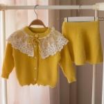 Autumn and Winter Girls Knit Cardigan Sweater + Short Skirt Set 110CM(Yellow)