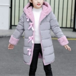 Winter Girls Mid-length Thick Warm Bow-knot Hooded Cotton Clothes Jacket, Kid Size:110cm(Gray)