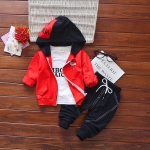 Spring and Autumn Children Letter Hooded Cotton Zip Jacket + Long Sleeve Letter T-Shirt + Trousers Casual Sportswear Set, Kid Size: 90cm(Red)