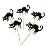 2 Sets Halloween Party Decoration Cake Bamboo Sign(Cat )