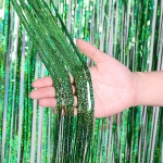2 PCS Backdrop Curtains Glitter Gold Tinsel Fringe Foil Curtain Birthday Wedding Decoration Adult Anniversary Decor, Size:1*3m(Green)