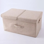 Anti-mold Foldable Storage Box Carry Handles Clothes Organizador Box, Size:L 50x30x25cm(Beige)
