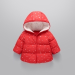 Winter Children Button + Zipper Version Stars Pattern Berber Fleece Down Jacket, Height:100cm(Red)