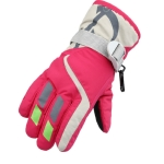 Outdoor Children Thick Warm Skiing Gloves, One Pair(Rose Red)