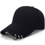 Unisex Casual Solid Color Adjustable Baseball Caps with Ring(Black)