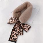 Khaki+Beige Winter Women Plush Warm Scarf with Leopard Ribbon, Size:160 x 9cm