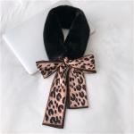 Black+Coffee Winter Women Plush Warm Scarf with Leopard Ribbon, Size:160 x 9cm