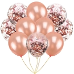2 Set 10 PCS/ Set Inflatable Ball Toy 12 inch Birthday Wedding Balloon Toy(Rose Gold+ Rose Gold)