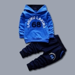 Spring Casual Children Letter Hooded Sweater Set, Kid Size:110cm(Blue)
