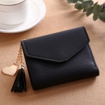Women Wallet Fringed Pendant Litchi Texture Wallet Card Pack Coin Purse(Black)