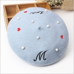 Letters Embroidery Pearl Wool Beret for Women, Hat Size:56-58CM(Blue)