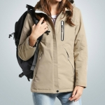 Autumn and Winter Men and Women Smart Heating Jacket Carbon Fiber Heating Travel Jacket, Size:L(Women Khaki)
