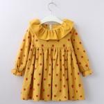 Girls Print Long Horned Sleeve Dress Princess Dress 140cm(Yellow Dots)