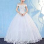 Retro Elegant Off Shoulder LaceThin Court Neat Princess Wedding Dress, Size:S(White)