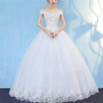 Retro Elegant Off Shoulder LaceThin Court Neat Princess Wedding Dress, Size:M(White)