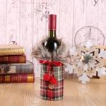 Christmas Ornaments Wine Set Bow  Bottle Set  Hotel Restaurant Decoration Props(Red Plaid)