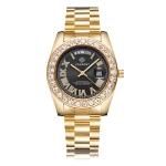 CAGARNY 6866 Fashion Life Waterproof Gold Steel Band Quartz Watch (Black)