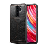 Dibase For Xiaomi Redmi Note 8 Pro TPU + PC + PU Crazy Horse Texture Protective Case, with Holder & Card Slots (Black)