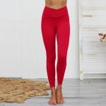 Spun Cotton Slim Bare Sweatpants (Color:Red Size:S)