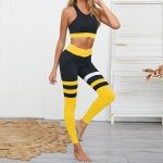 High Waist Tight Sports Suit (Color:Yellow Size:XS)