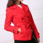 Large Lapel Double-breasted Short Slim Windbeaker (Color:Red Size:L)