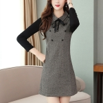 Long-sleeved Waist Slim Temperament Bottoming Dress (Color:Grey Size:2XL)