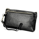 2016 Long Solid Color Zipper Purse Casual Clutch with Wrist Strap (Black)