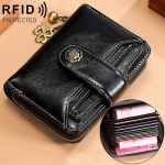 3522 Short Anti-magnetic RFID Wallet Multi-function Wallet for Ladies, with Card Slots(Black)