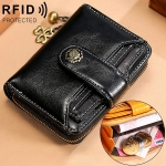3522-1 Short Anti-magnetic RFID Wallet Multi-function Wallet for Ladies, with Card Slots (Black)