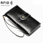 3526 Vintage Oil Wax Texture Large Capacity Long Multi-function Anti-magnetic RFID Wallet Clutch for Ladies (Black)