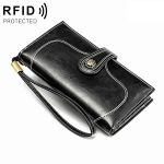 3527 Vintage Oil Wax Texture Large Capacity Long Multi-function Anti-magnetic RFID Wallet Clutch for Ladies (Black)