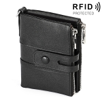 3529 Retro Crazy Horse Texture Double Zipper Anti-magnetic RFID Wallet for Man with Card Slots (Black)