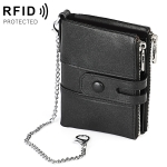 LT3529 Retro Crazy Horse Texture Double Zipper Anti-magnetic RFID Chain Wallet with Card Slots (Black)