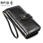 3556 Large Capacity Long Multi-function Anti-magnetic RFID Wallet Clutch for Ladies with Card Slots (Black)